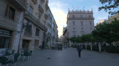People walking on Carrer dels Cavallers in Valencia Stock Footage
