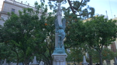 Statue of a warrior angel in Valencia Stock Footage