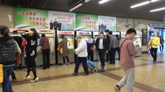 Subway passengers purchase tickets, vending machines Shanghai, China Stock Footage