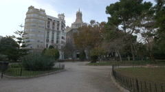 View of a park surrounded by buildings in Valencia Stock Footage
