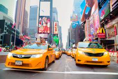 Yellow cabs at Times square in the morning Kuvituskuvat
