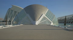 Entrance into the L'Hemisfèric in the City of Arts and Sciences in Valencia Stock Footage