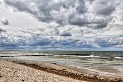 HDR shot of stormy weather at  the sea - stock photo