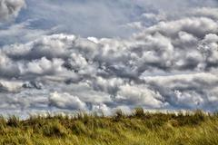 HDR stormy cloudscape and grass dune Stock Photos