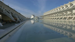 View of the City of Arts and Sciences, a cultural complex in Valencia Stock Footage