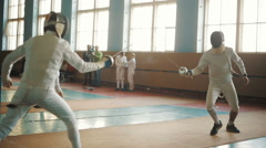 fencers on a training - stock footage