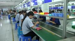 Conveyor belt production line electronics factory Shenzhen, China, Asia - stock footage