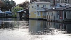 Rows of houses built on the water Stock Footage