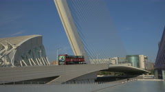 Driving on Assut de l'Or Bridge in the City of Arts and Sciences in Valencia Stock Footage
