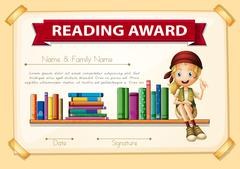 Reading award with girl and books Stock Illustration
