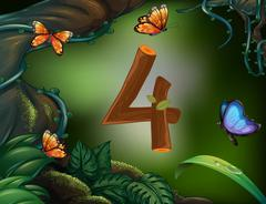 Number four with 4 butterflies in the garden Stock Illustration