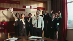Group of successful businessmen happy Stock Footage