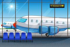 Terminal with airplanes parking outside Stock Illustration