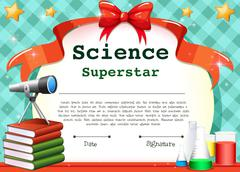 Certificate template for science subject Stock Illustration