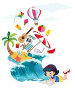 Girl reading book with summer theme Stock Illustration