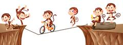 Monkeys playing on the rope Stock Illustration