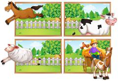 Farm animals and farmer on wagon Stock Illustration