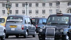 London Black Cabs In Uber Protest Stock Footage