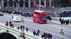 Busy Waterloo Bridge During Day - stock footage