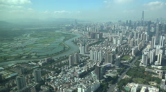 Natural border between rural Hong Hong and Shenzhen skyline, buffer zone China Stock Footage