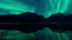 Aurora Borealis over Reflecting Pond Coast Range Alaska 4K Stock Footage