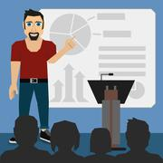 Illustration Vector Graphic Guy Presentation - stock illustration