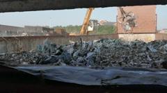 Crane Throwing Metal Scraps Into Rubbish Dump Stock Footage