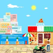 Pizza restaurant building with terrace - stock illustration