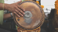 Playing dhol drum Stock Footage