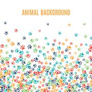 Colorful animal footprint ornament border isolated on white background - stock illustration