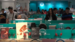 Consumer electronic store, shopping mall in Shenzhen, China Stock Footage