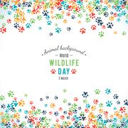 Vector background of world wildlife day Stock Illustration