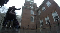 Students in line at Independence Hall in Feb Stock Footage