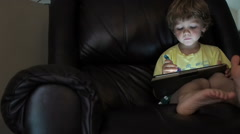 Little Boy Using Tablet Computer Stock Footage