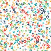 Vector seamless pattern with cat or dog footprints - stock illustration