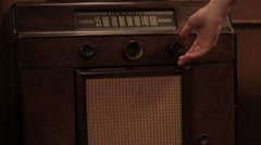 Old timey vintage radio changing station Stock Footage