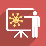 Virus Lecture Flat Longshadow Square Icon - stock illustration