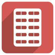 Pill Blister Flat Rounded Square Icon with Long Shadow Stock Illustration