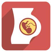 Pregnancy Anatomy Flat Rounded Square Icon with Long Shadow Stock Illustration
