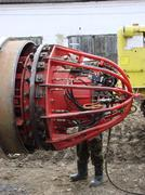 The device for research of the pipeline at construction Stock Photos