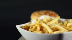 Juicy Beef Burger and French Fries Stock Footage