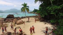 Tourists at Famous Aventureiro Beach in Ilha Grande, Rio de Janeiro, Brazil Stock Footage