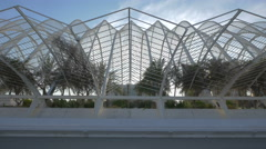 Side view of L'Umbracle in the City of Arts and Sciences in Valencia Stock Footage
