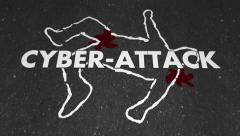 Cyber Attack Hacking Online Crime Victim Chalk Outline Body Stock Footage