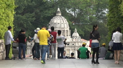 Chinese tourists visit replica of St Peter's Basilica in Shenzhen Stock Footage