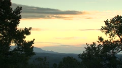 View of mountain and forest at sunset, Arkansas, USA - stock footage
