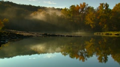 View of forest near lake at sunrise, Arkansas, USA - stock footage