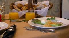 Delicious meal set on table in restaurant, Arkansas, USA Stock Footage