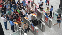 China transportation, passengers enter gates of Shenzhen North railway station Stock Footage
