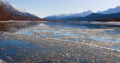 Sunny Day on Winter Chilkat River Ice Flowing Past Scenic 4K Stock Footage